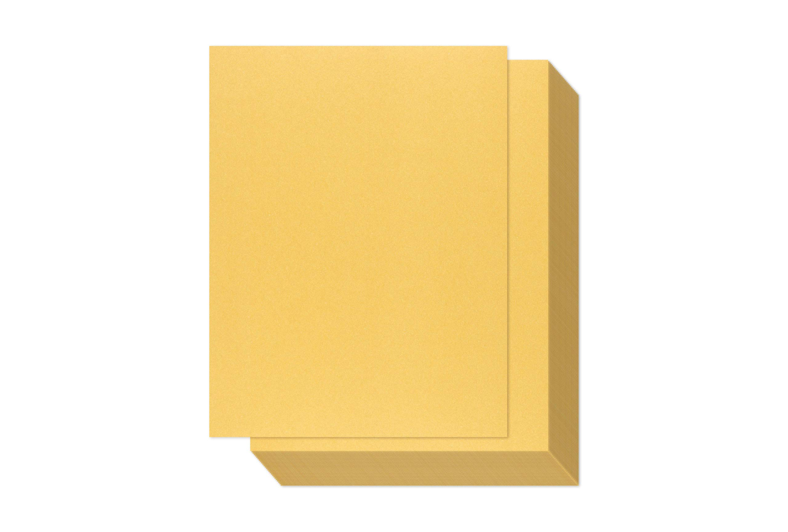 Gold Shimmer Paper - 100-Pack Metallic Cardstock Paper, 92 lb Cover, Double Sided, Printer Friendly - Perfect for Weddings, Birthdays, Craft Use, Letter Size Sheets, 8.5 x 11 Inches