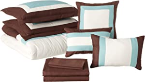 Chic Home Duke Bed in A Bag Comforter Set, Queen, Brown