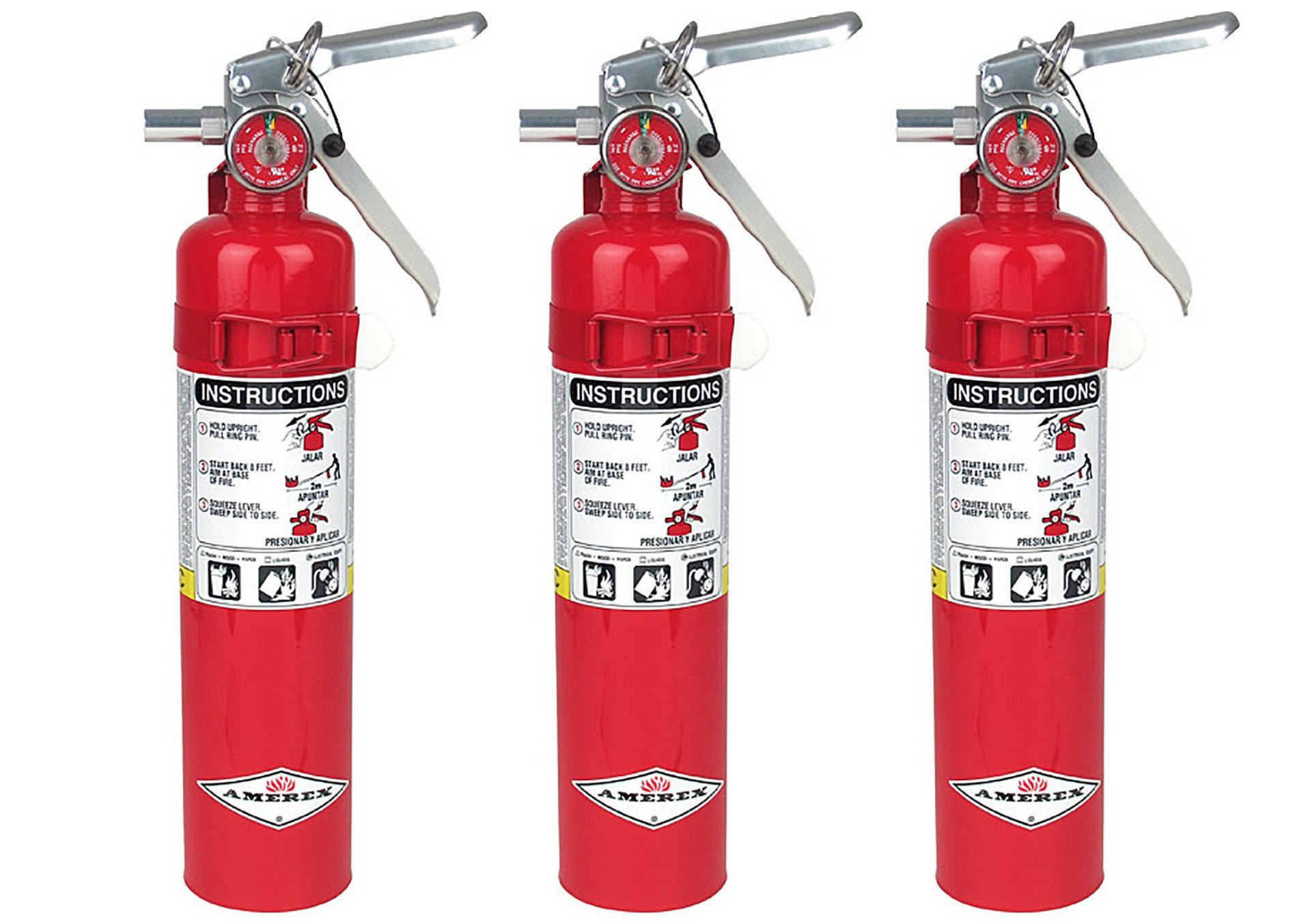 Amerex B417, 2.5lb ABC Dry Chemical Class A B C Fire Extinguisher, with Wall Bracket (3, 5.25 pounds)