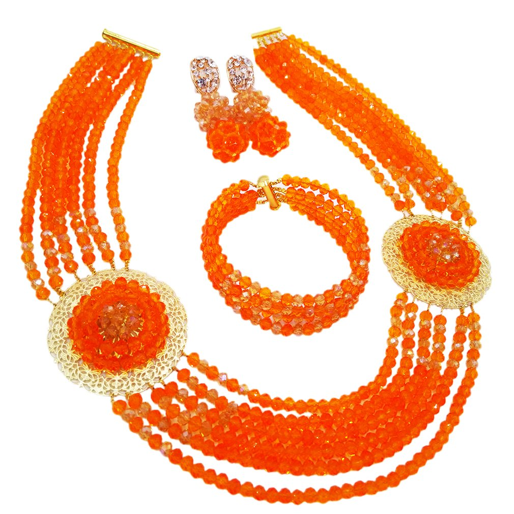 aczuv Nigerian Beads Jewelry Set African Necklaces for Women Crystal Bridal Wedding Jewelry Sets (Orange Champagne Gold AB)
