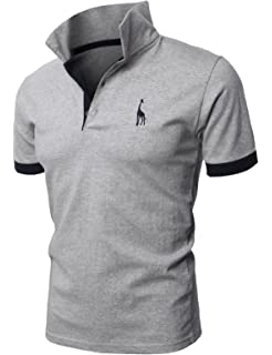 c2a9050d8ac0 H2H Mens Casual Slim Fit Polo T-Shirts Basic Designed with Giraffe  Embroidery
