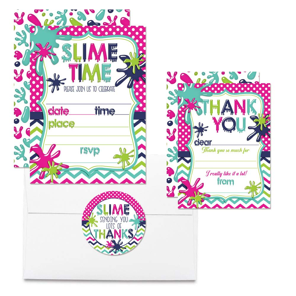 Deluxe Slime Birthday Party Bundle for Girls, Includes 20 Each of 5''x7'' Fill-in Invitation Cards, Thank You Cards, Thank You Party Favor Stickers and Envelopes