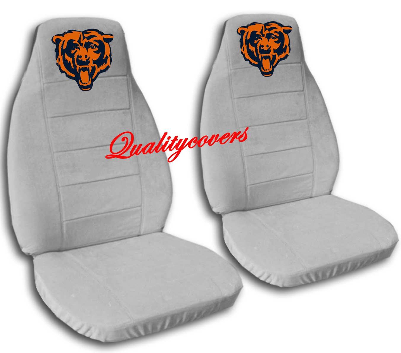 2 Silver Chicago seat covers for a 2007 to 2012 Chevrolet Silverado. Side airbag friendly.