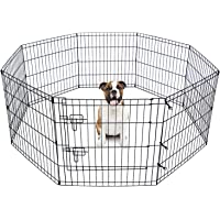 """Advwin 24"""" Foldable Pet Dog Puppy Playpen Portable Exercise Cage 8 Panel, Indoor/Outdoor Foldable Metal Fitness Pen…"""
