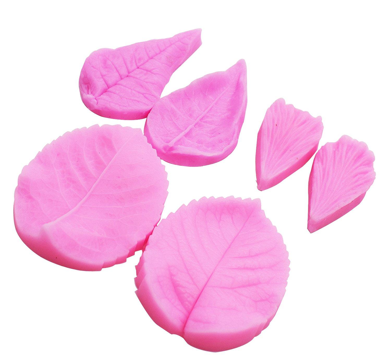 y dise/ño de p/étalo moldes de Aixin fondant pasta de goma Juego de 6 venas de hojas Veiner de silicona dise/ño de p/étalo herramientas de pasta de az/úcar