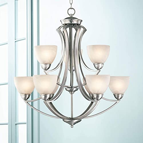 Milbury Satin Nickel Chandelier 30 Wide Modern White Alabaster Glass 2 Tier 9-Light Fixture for Dining Room House Foyer Kitchen Island Entryway Bedroom Living Room – Possini Euro Design