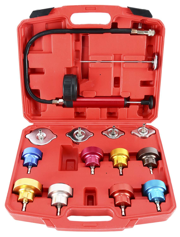 8MILELAKE 14pc Radiator Pump Pressure Leak Tester Kit Vacuum Pressure Cooling System Tester by 8MILELAKE (Image #1)