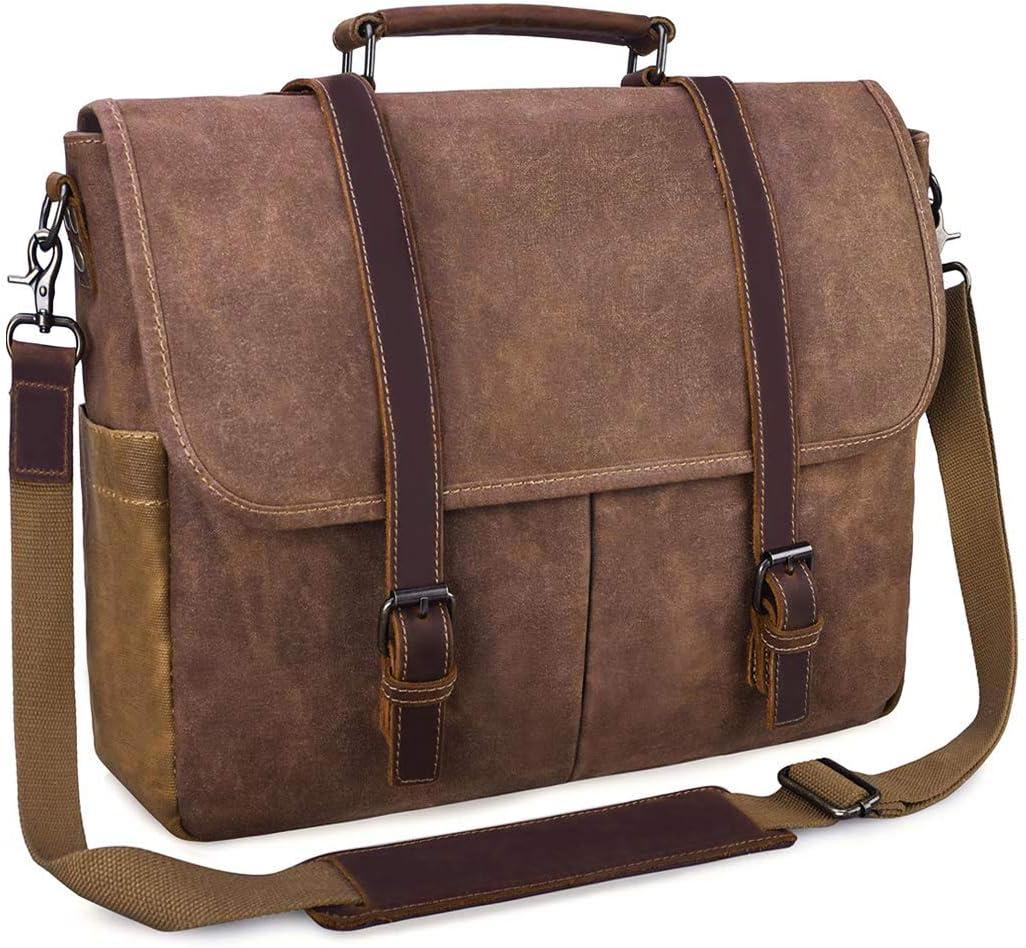 Mellshy Vintage Messenger Bag,Waterproof Waxed Canvas Business Briefcase School Shoulder bag,15.6 Inch College Laptop Case Bag for Men,Brown.