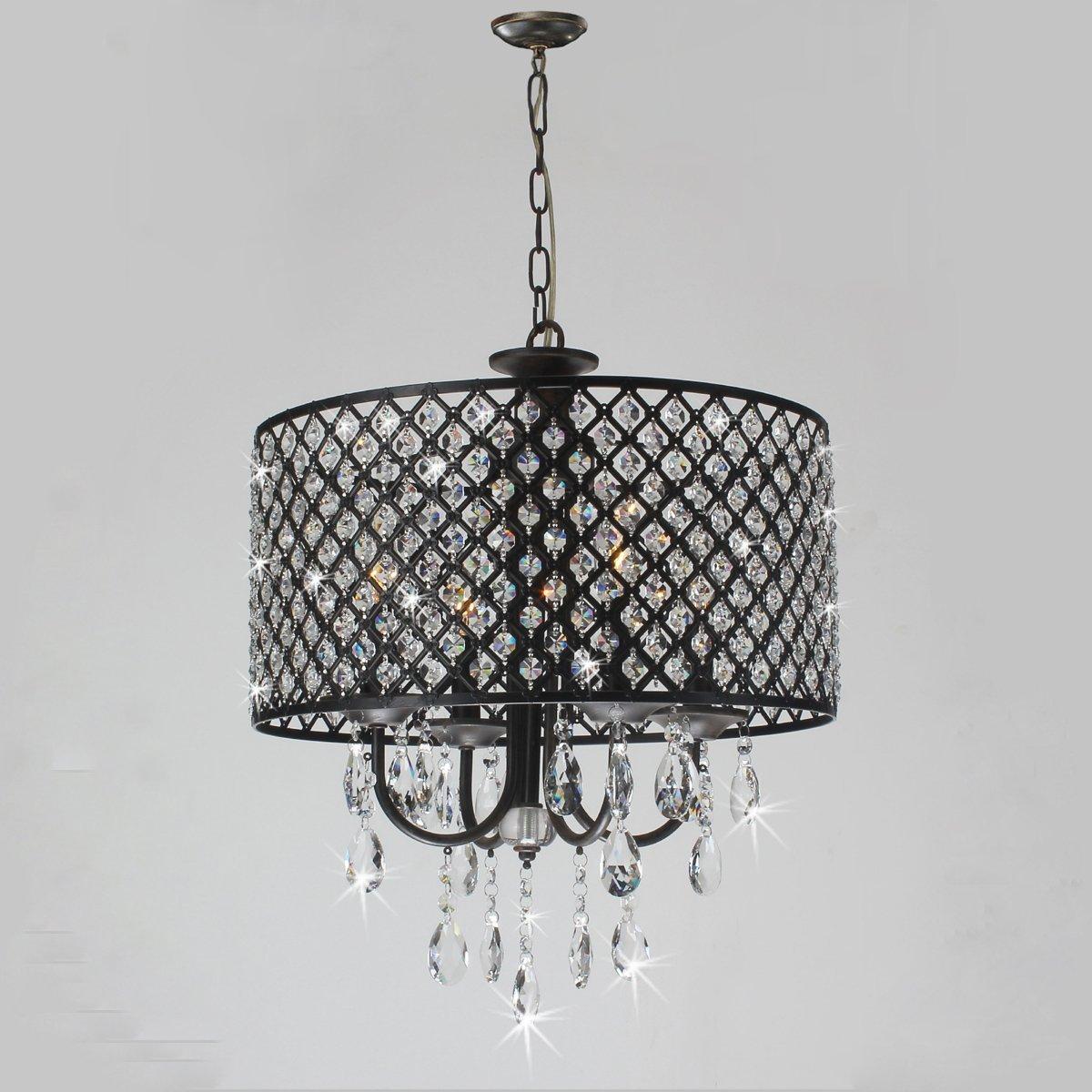 New legend lighting antique black 4 light round crystal chandelier new legend lighting antique black 4 light round crystal chandelier pendant ceiling fixture amazon aloadofball Gallery