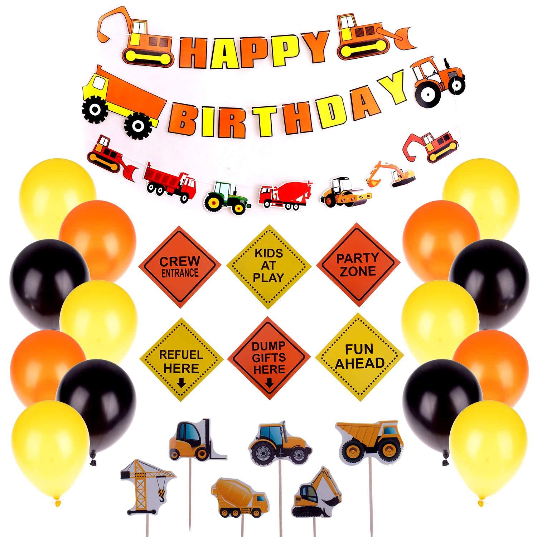 組み立て 誕生日パーティー用品 ダンプトラック パーティーデコレーションキット 男の子 キッズ 誕生日パーティー ハッピーバースデー 車両バナー ラテックスバルーン 車両ケーキトッパー 交通標識切り抜き   B07R48W8HV