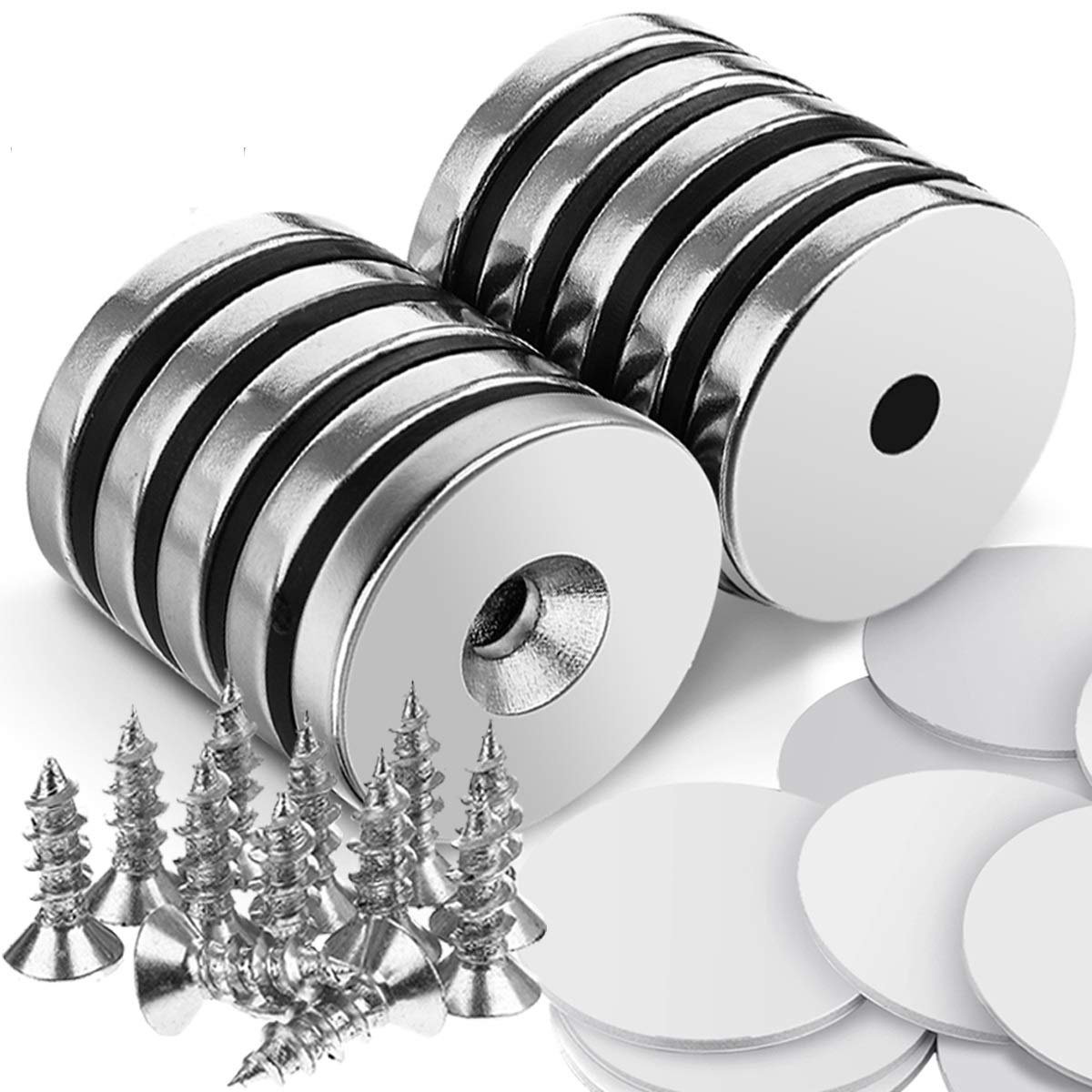 """DRILLPRO 10pcs Magnet Discs, 1.26""""D x 0.2"""" H Strong Magnet Neodymium Disc for Hanging Artwork, Magnetic Tools, Countersunk Hole Neodymium Magnets with 12pcs Screws and 10 Sheet Double-Sided Stickers"""