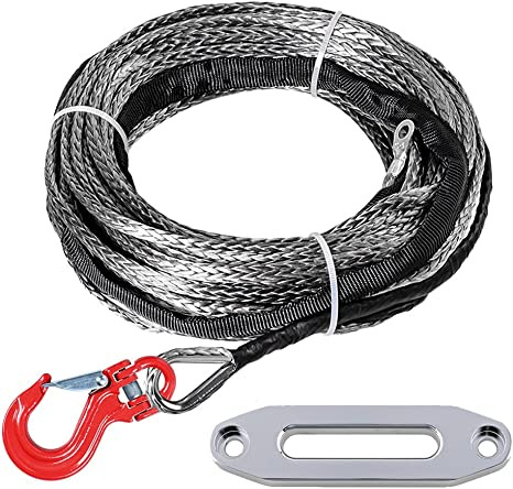 3//16inch*50 feet black synthetic winch rope cable with thimble