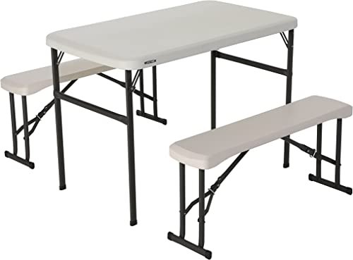 Lifetime 80373 Portable Folding Camping RV Picnic Table and Bench Set