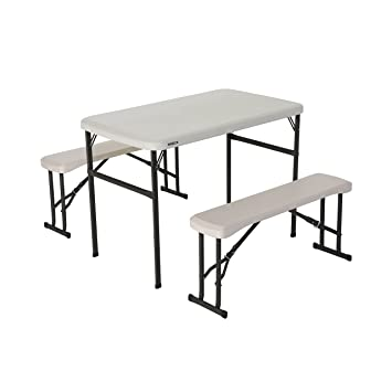 lifetime portable folding picnic table and bench set almond
