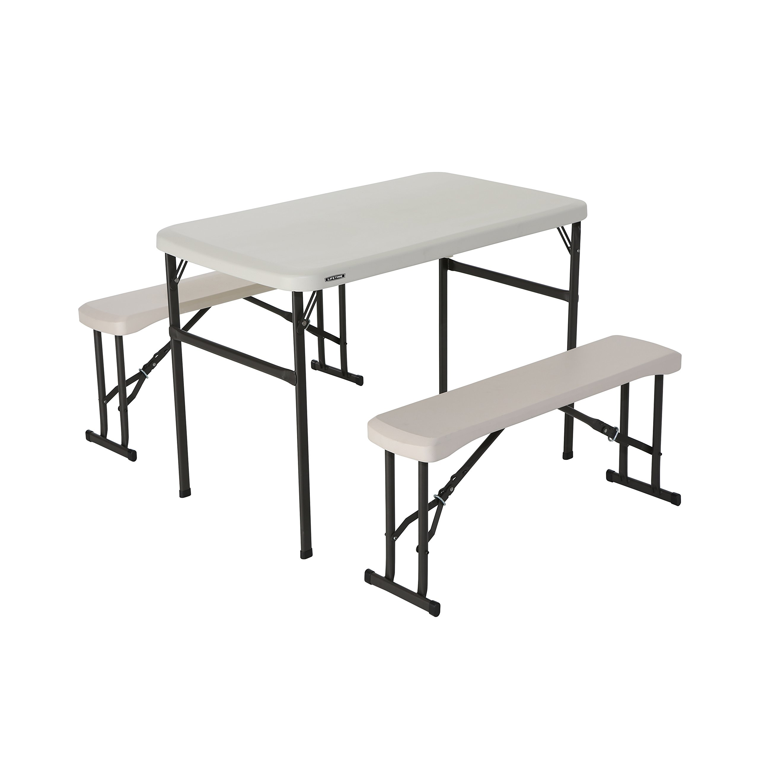 Lifetime 80373 Portable Folding Camping Picnic Table Bench Set, Almond
