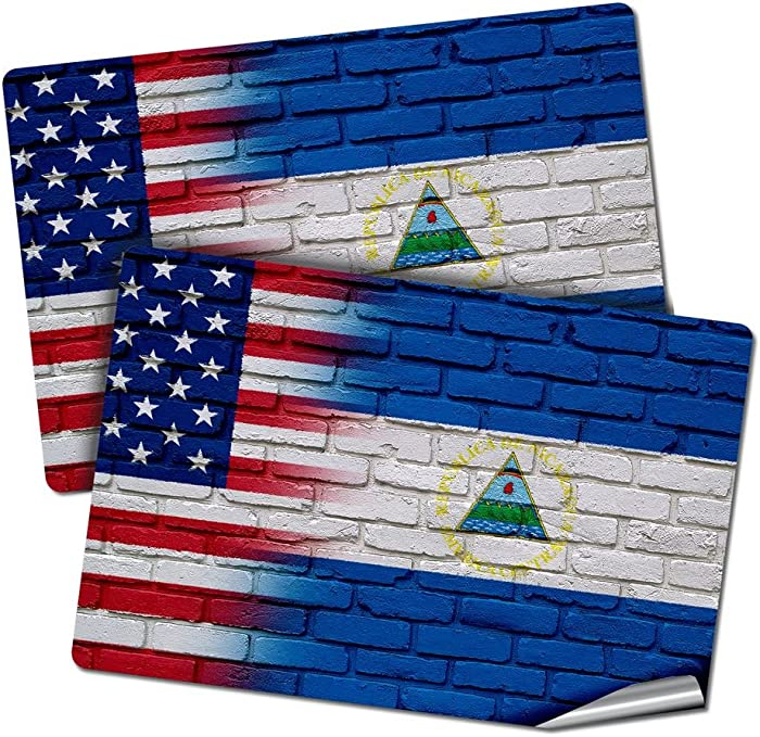 "Two 2""x3"" Decals/Stickers with Flag of Nicaragua - Bricks w USA Flag - Long lasting premium quality"