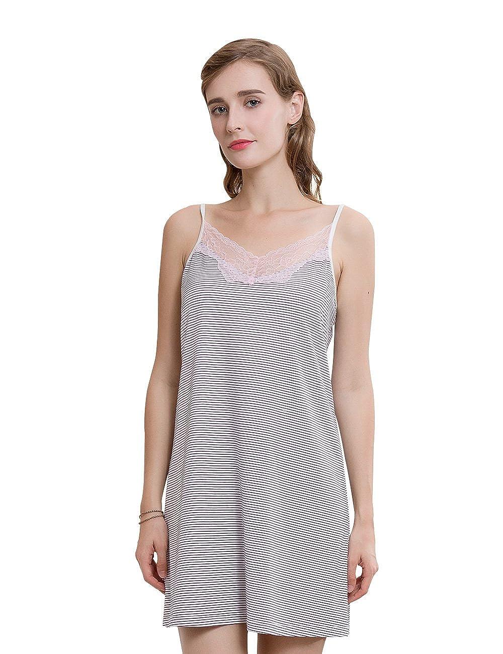 Camisón Mujer Verano Vestido De Pijama Algodón Sin Manga Camisola Escote Falda Cuello V Elegante Dress