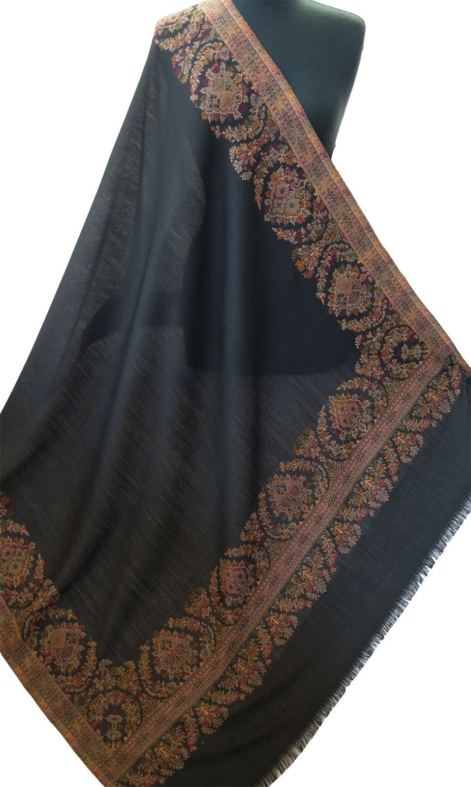 Large Black Shawl Hand-Cut Kani Jamavar Paisley Wool with Fine Details Pashmina