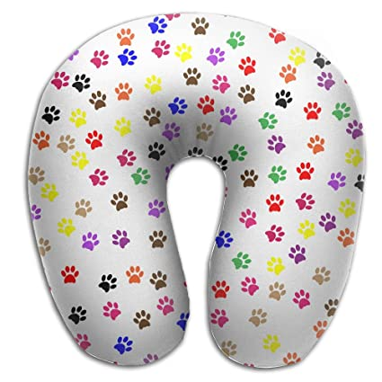 Amazon.com: Colorful Dog Footprint Print U Type Pillow ...