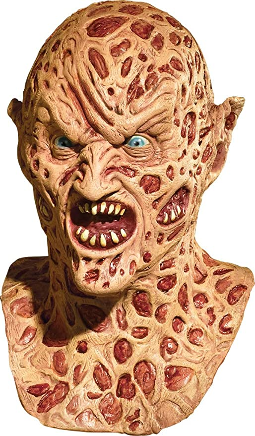Máscara Demon Freddy Krueger de látex deluxe para adulto: Amazon ...