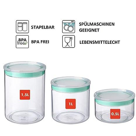 Set di (0,5 L, 1 L, 1,5 L) design cucina Barattoli SISTEMA ...