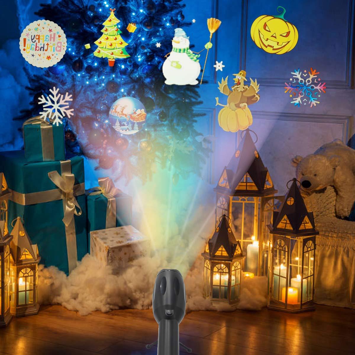 LED-Projektor für Weihnachten, Handheld-LED-Projektor 12 Folienmuster mit Musik für Geburtstag, Halloween, Weihnachten, Neujahr