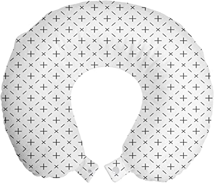 Lunarable Geometric Travel Pillow Neck Rest Tribal Image With Lines And Stripes Hexagonal Contemporary Modern Art Memory Foam Traveling Accessory For Airplane And Car 12 Charcoal Grey White Home Kitchen