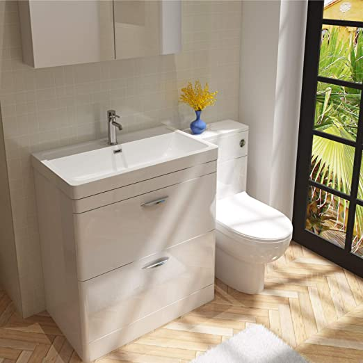 VeeBath Cyrenne White Wall Vanity Unit Cabinet /& Basin with Soft Edges 800mm