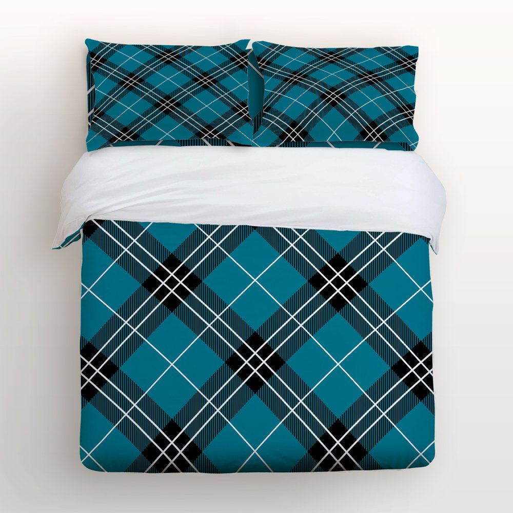 Libaoge 4 Piece Bed Sheets Set, Buffalo Check Plaid Pattern Design, 1 Flat Sheet 1 Duvet Cover and 2 Pillow Cases