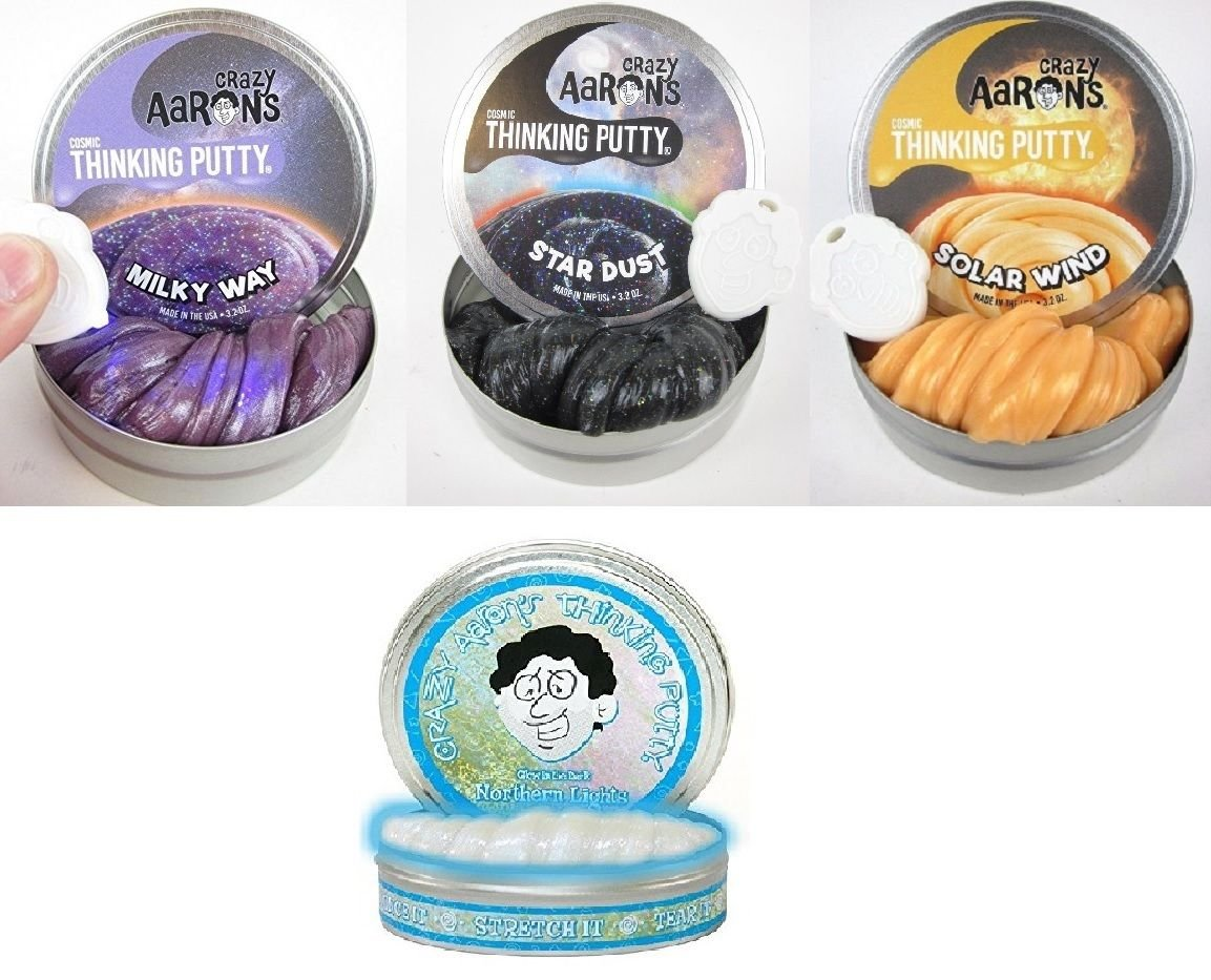 Crazy Aaron Thinking Putty Milky Way Northern Lights Star Dust Solar Wind 4'' Tin