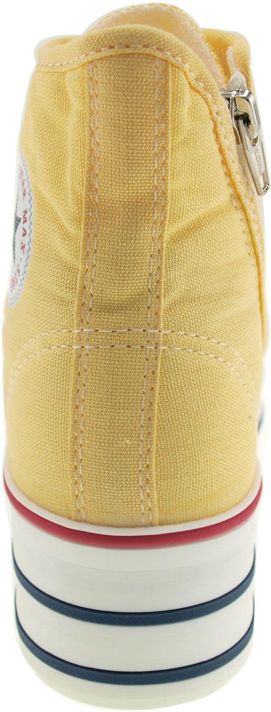 Maxstar Women's C50 7 Holes Zipper Platform Canvas High Top Sneakers B00CHVUVWM 8.5 B(M) US|Yellow