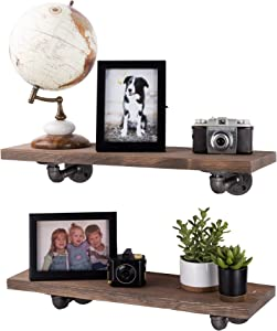 PIPE DÉCOR Industrial Pipe Wooden Shelves Restore Premium Douglas Fir Wood Shelving 24 Inch Length Set of 2 Boards and 4 L Brackets Sunset Brown Finish