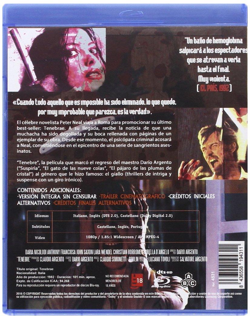 Amazon.com: Tenebre 1982 BD Tenebrae Non-usa Format: Pal -Import- Spain ]: Movies & TV