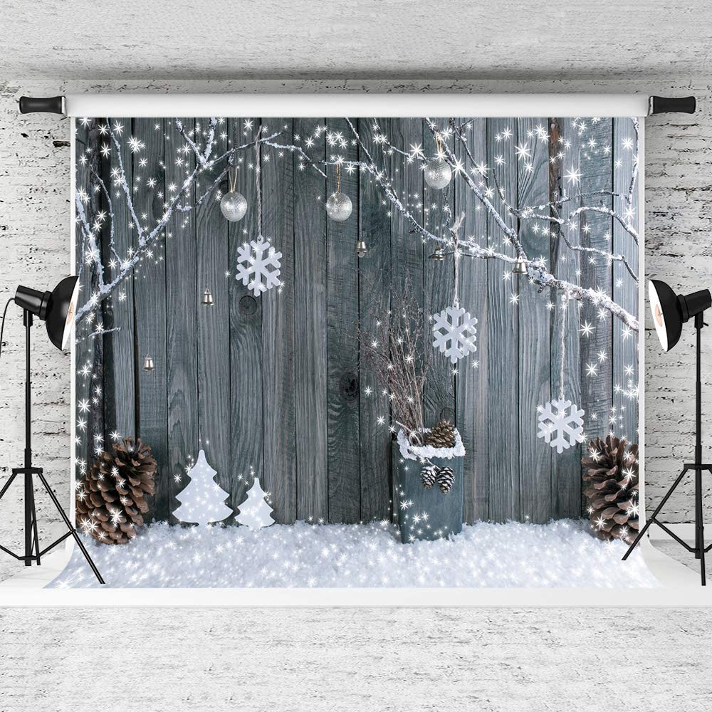 Zhy Christmas Backdrop 7x5ft Fabric Xmas Balls Winter Snow Backdrops for Photography Family Holiday Party Decoration Kids Portait Photo Booth Studio Props