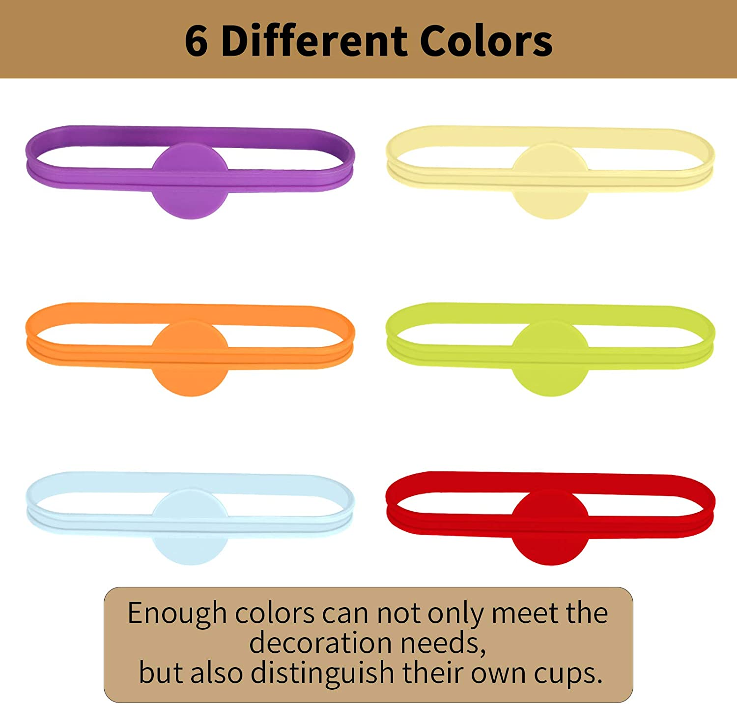 Sdoot 24 Pieces Drink Markers Silicone Glass Cup Wine Glass Strip Tag Marker Beer Cocktail Glass Bottle Identifiers for Party Home