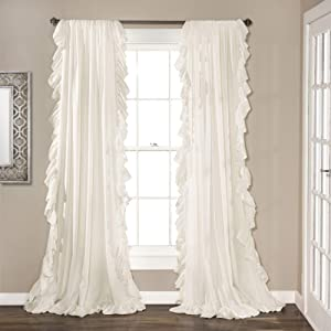 "Lush Decor Reyna Window Curtains Panel Set for Living Room, Dining Room, Bedroom (Pair), 95"" x 54"", White"