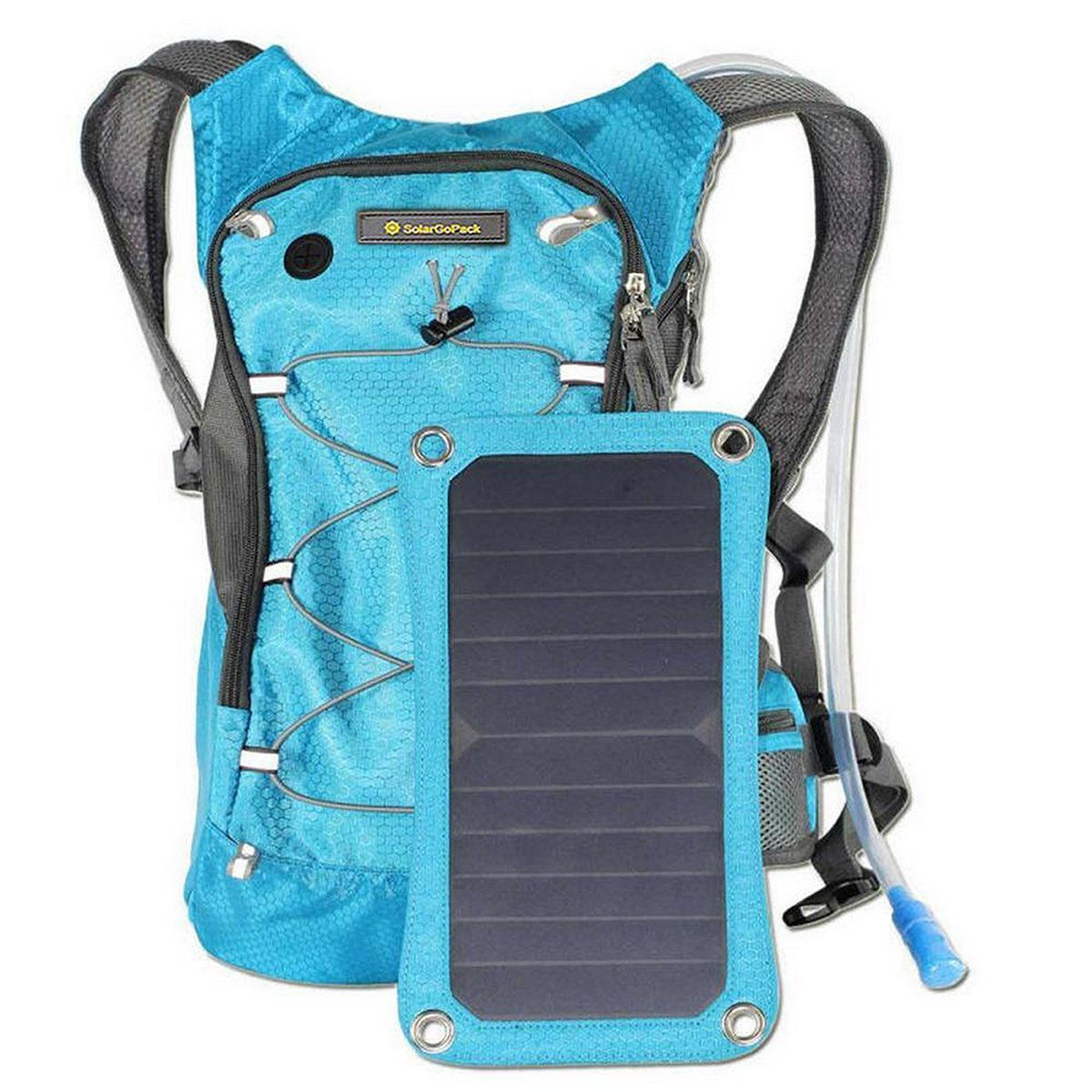 Amazon.com  SolarGoPack Solar Powered 1.8 Liter Hydration Backpack   7 Watt  Solar Panel and 10K mAh Charging Battery Phone and Electronic Device Power  ... a0e4b87fc00b8