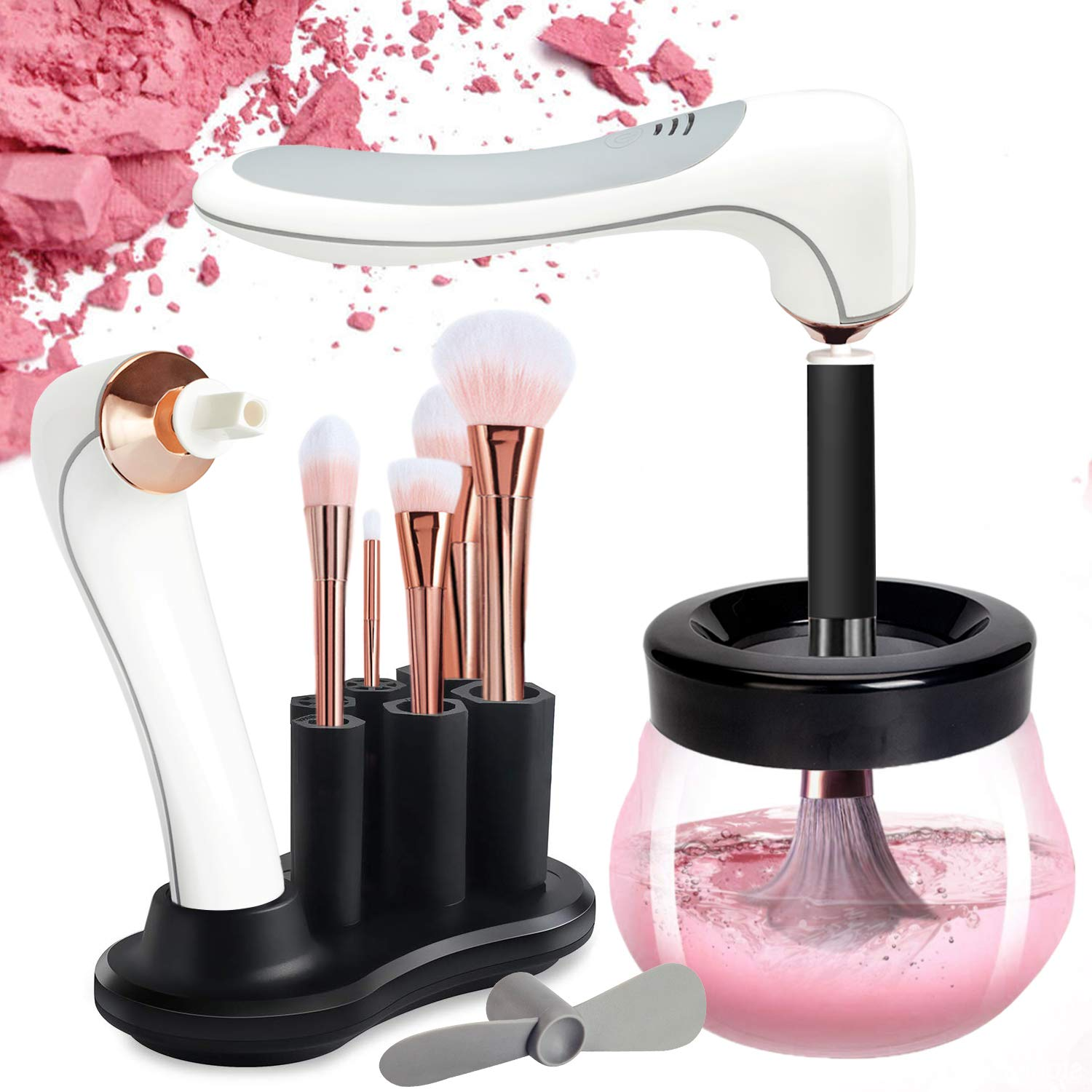 DOTSOG Makeup Brush Cleaner Dryer, Makeup Brush Cleaner Machine with 8 Rubber Collars, Wash and Dry in Seconds, Deep Cosmetic Brush Spinner for All Size Brushes