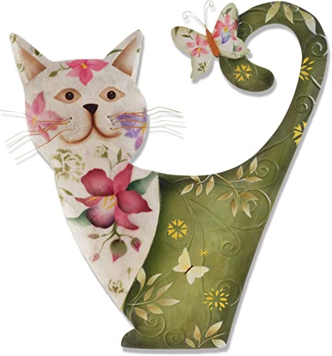 Eangee Home Design Cat Wall Decor White and Green m7012