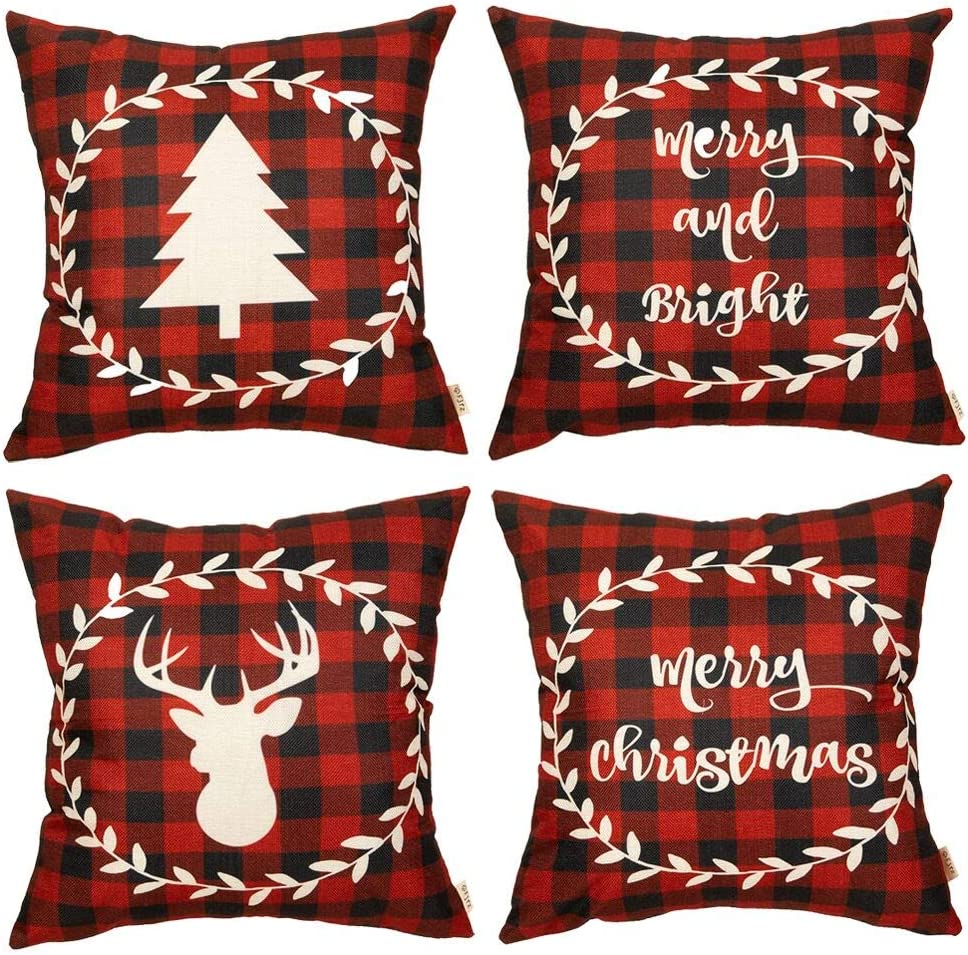 Fjfz Set of 4 Christmas Farmhouse Decorative Throw Pillow Cover 4PCS Red Buffalo Check Plaid Deer Tree Sign Winter Holiday Decoration Merry & Bright Home Décor Cotton Linen Cushion Case Sofa 18
