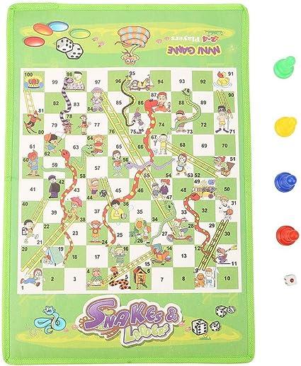 Zerodis Juego de Tablero Serpientes, Juego de Mesa de ajedrez de Serpientes y escaleras Plegable de Tela no Tejida Juego Educativo Educativo para niños Adultos Adultos: Amazon.es: Juguetes y juegos