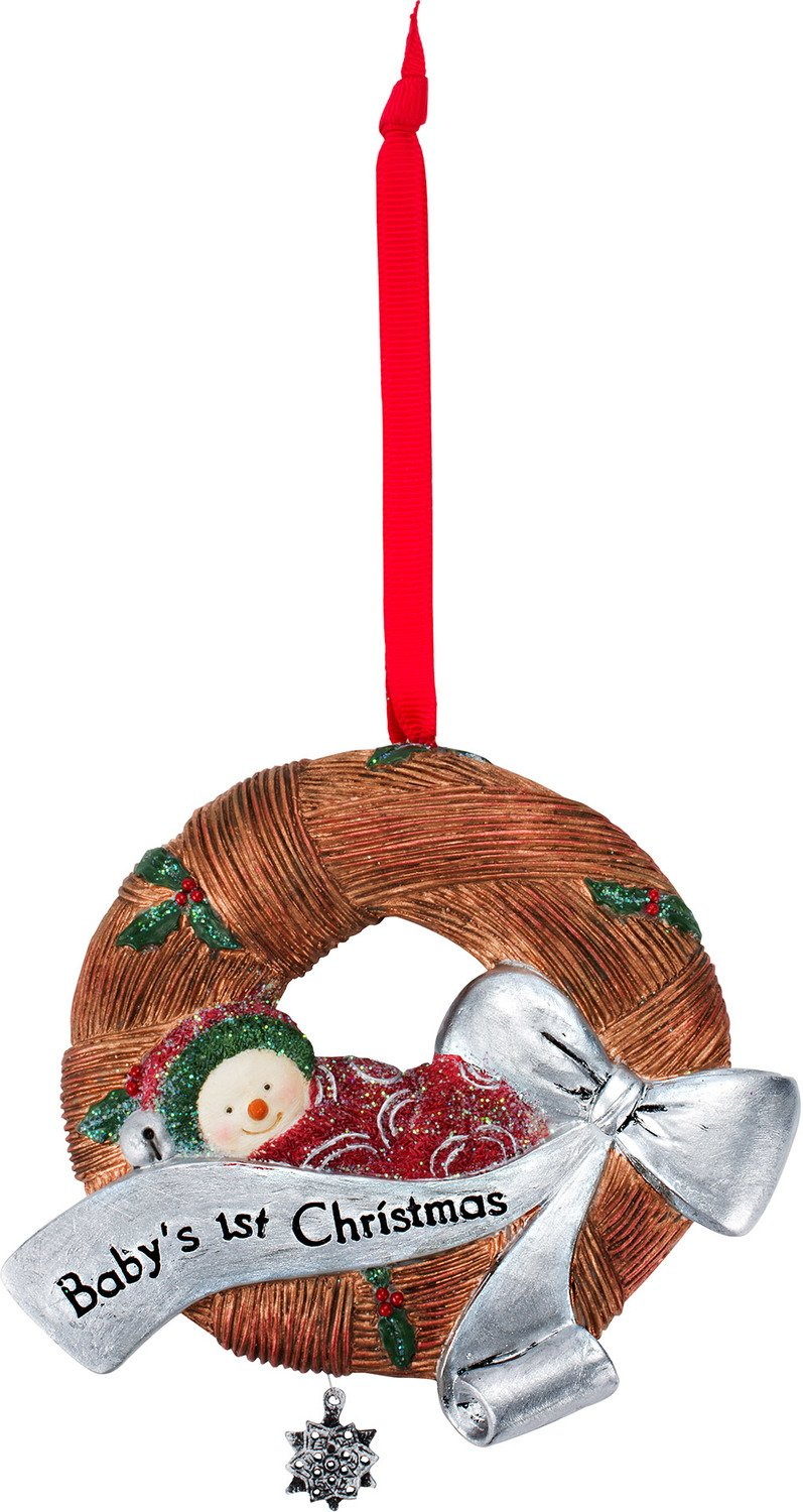 The Birchhearts Pavilion Gift Company Baby's First Christmas Snowman Wreath Ornament, 4.5, Brown 4.5 81138