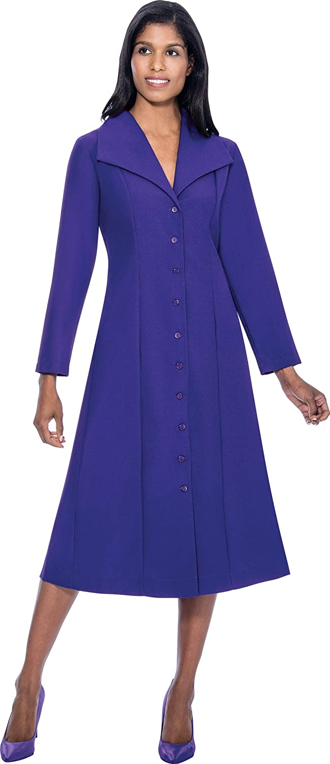 Purple Regal Robe Plus Size ButtonDown Chelsea Cut Collar Church Dress with Side Pockets and Pleated Back   G11573W