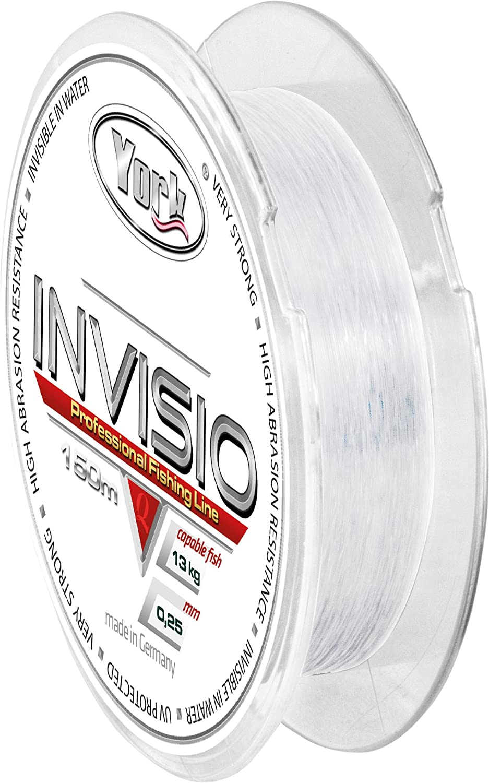 0,02/€//m YORK Invisio Angelschnur 150m Spule 0,14mm-0,40mm Monofile Schnur Fluorocarbon beschichtet