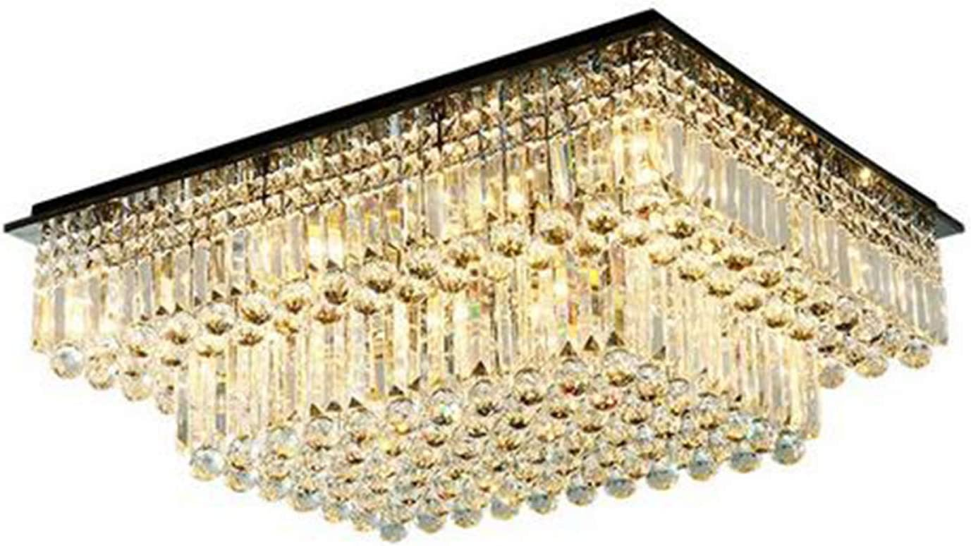 """Moooni Modern Luxury Rectangular Crystal Chandelier Lighting Flush Mount Raindrop Ceiling Light Fixture for Dining Rooms Living Rooms Hotel Large Rectangle Chandeliers L31.5"""" x W 23.6"""" x H14"""""""