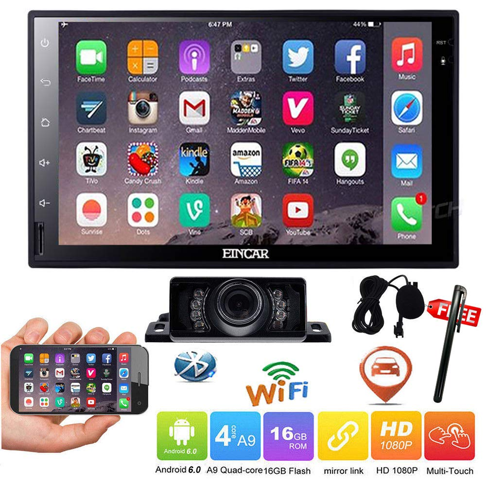 2DIN Car Stereo Android 6.0 Autoradio with 7' Inch Full Touch Screen In Dash GPS Navigation Head Unit GPS Vehicle Radio Receiver Come with Rear View Camera Bluetooth Mirror Link SWC WIFI 1080P Video Car Multimedia System RBR.AN60271GNN+FCAM11