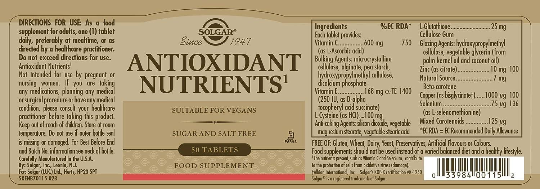 Solgar Nutrientes Antioxidante - 50 Tabletas: Amazon.es: Salud y ...