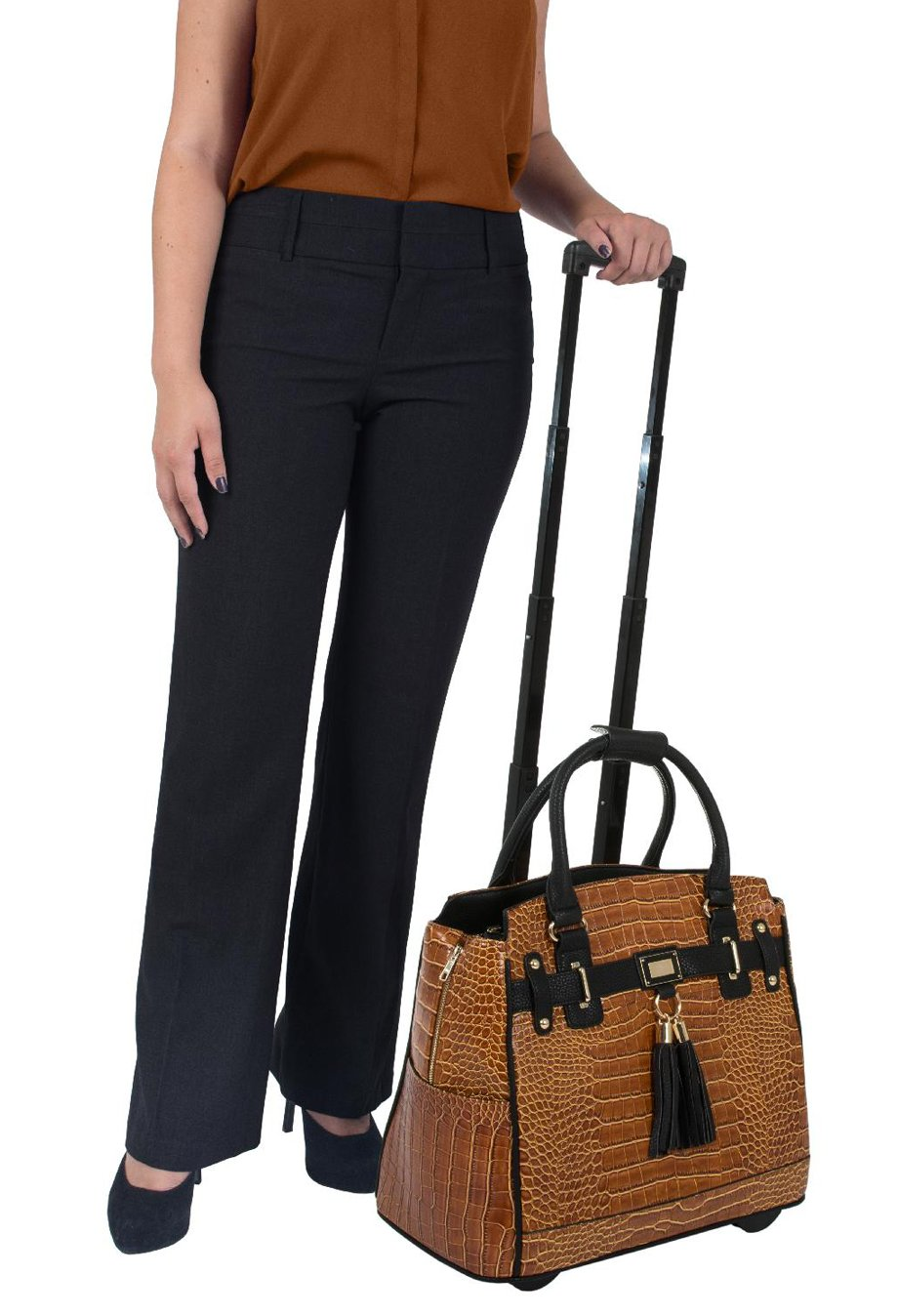 ''The Carmel'' Alligator Crocodile Computer iPad, Laptop Tablet Rolling Tote Bag Briefcase Carryall Bag