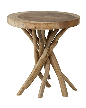 East at Main Mara Brown Round Teak Accent Table, 22x22x22