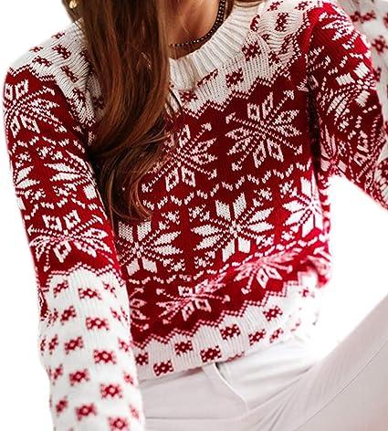 JHD Maglione a Maniche Lunghe di Natale Invernale da Donna Maglione Lavorato a Maglia con Fiocco di Neve Geometrico Top Girocollo Maglioni Natalizi Sciolti Casual S-2XL